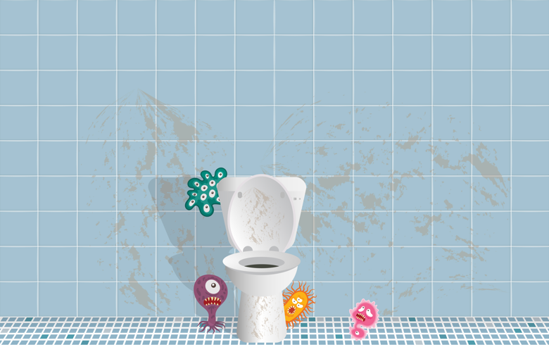 common household germs around the toilet